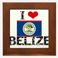 I HEART BELIZE FLAG Framed Tile