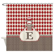Retro Monogram E Sock Monkey Argyle Shower Curtain