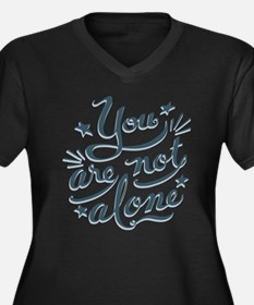 Not Alone Women's Plus Size V-Neck Dark T-Shirt