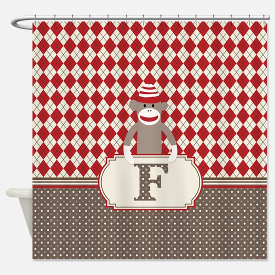 Retro Monogram F Sock Monkey Argyle Shower Curtain