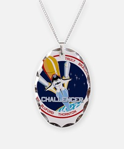 STS-8 Challenger Necklace Oval Charm