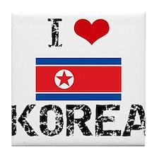 I HEART KOREA FLAG Tile Coaster