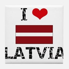 I HEART LATVIA FLAG Tile Coaster