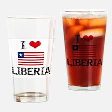 I HEART LIBERIA FLAG Drinking Glass