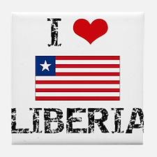 I HEART LIBERIA FLAG Tile Coaster