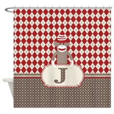 Retro Monogram J Sock Monkey Argyle Shower Curtain
