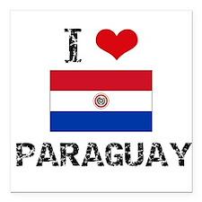 "I HEART PARAGUAY FLAG Square Car Magnet 3"" x 3"""