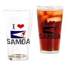 I HEART SAMOA FLAG Drinking Glass