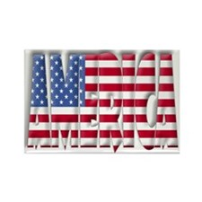 Word Art America Rectangle Magnet