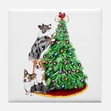 Corgi Christmas Tile Coaster
