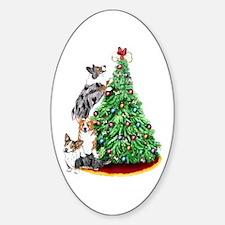 Corgi Christmas Oval Decal
