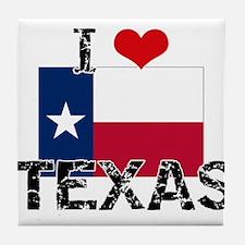 I HEART TEXAS FLAG Tile Coaster