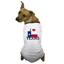 I HEART TEXAS FLAG Dog T-Shirt