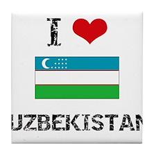 I HEART UZBEKISTAN FLAG Tile Coaster