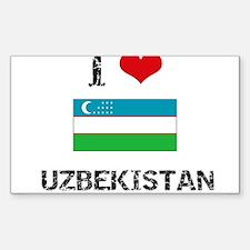 I HEART UZBEKISTAN FLAG Decal