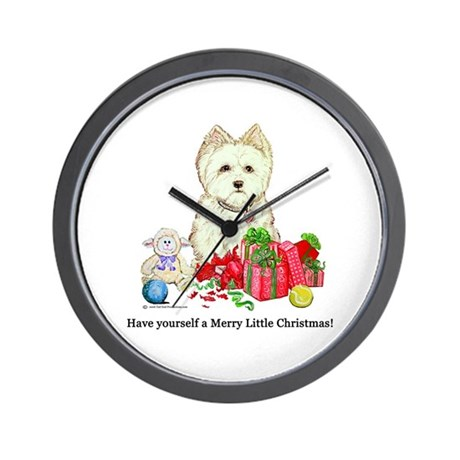 Westhighland Terrier Christmas Dog Wall Clock