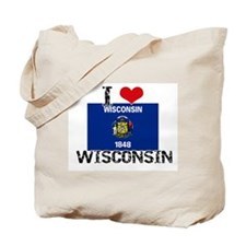 I HEART WISCONSIN FLAG Tote Bag