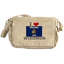I HEART WISCONSIN FLAG Messenger Bag