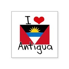 I HEART ANTIGUA FLAG Sticker