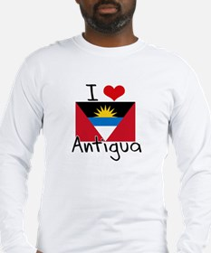 I HEART ANTIGUA FLAG Long Sleeve T-Shirt