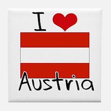 I HEART AUSTRIA FLAG Tile Coaster