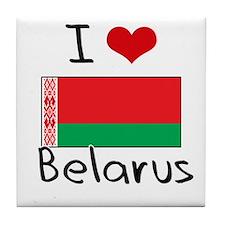 I HEART BELARUS FLAG Tile Coaster