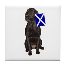 lab with flag of scotland Tile Coaster