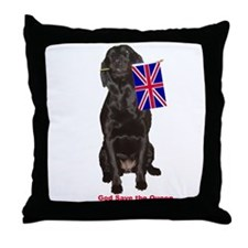 lab with British flag Throw Pillow