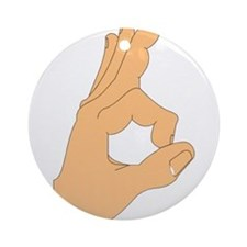 Hand OK Sign Ornament (Round)