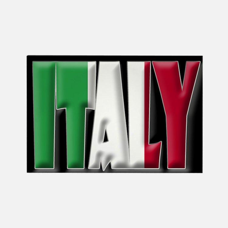 Word Art Flag Italy Rectangle Magnet