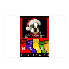MERRY CHRISTMAS BOSTON TERRIER LOOK Postcards (Pac