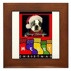 MERRY CHRISTMAS BOSTON TERRIER LOOK Framed Tile