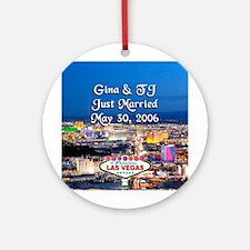 Gina & TJ 2 Vegas Personalized Ornament (Round)