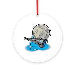 Telescope & Moon Astronomy Design Ornament (Round)