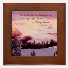 Mt. Ranier at Sunset Framed Tile
