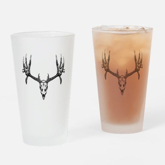 Drop tine buck skull Drinking Glass