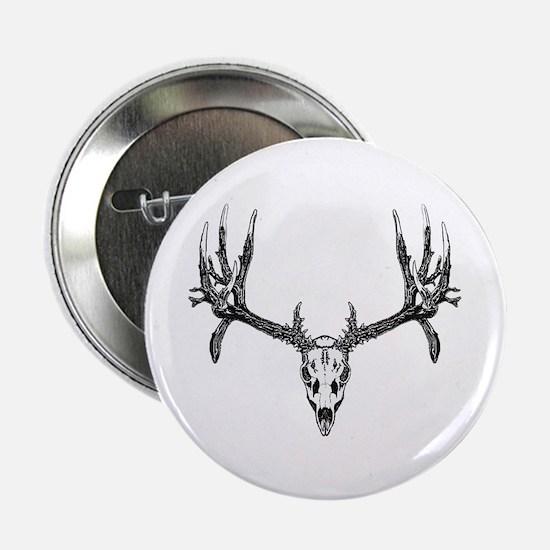 "Drop tine buck skull 2.25"" Button"