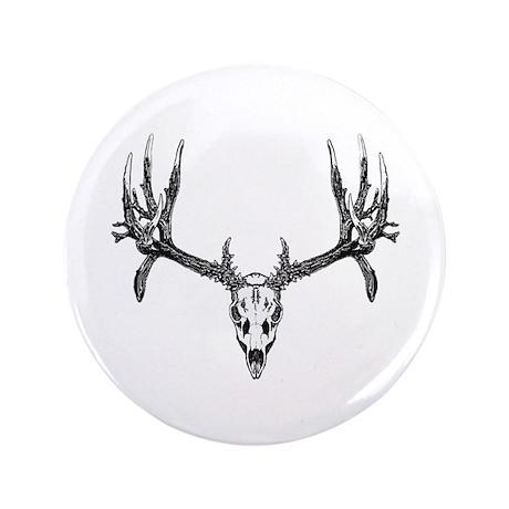 "Drop tine buck skull 3.5"" Button"