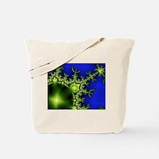 Neon Green Blue Fractal Tote Bag