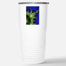 Neon Green Blue Fractal Travel Mug