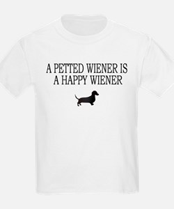 A Petted Wiener Is A Happy Wiener dachshund Kids T