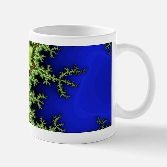 Aum Om Neon Green Blue Fractal Mug