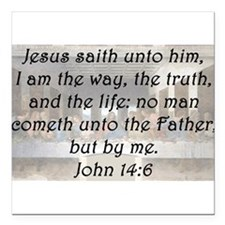 "John 14:6 Square Car Magnet 3"" x 3"""