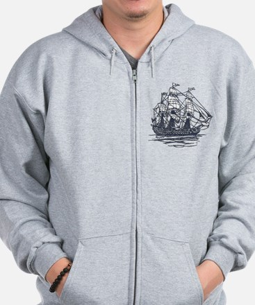 Nautical Ship Zipped Hoody