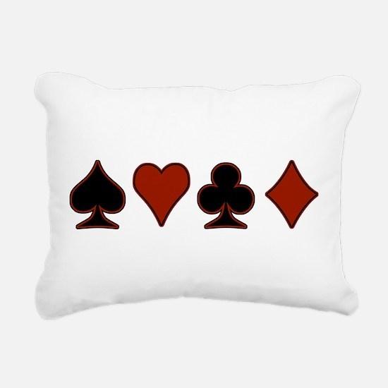 Playing Card Suits Rectangular Canvas Pillow