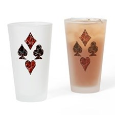 Cracked Playing Card Suits Drinking Glass