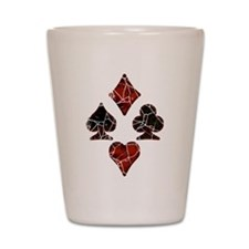Cracked Playing Card Suits Shot Glass