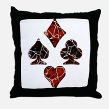 Cracked Playing Card Suits Throw Pillow