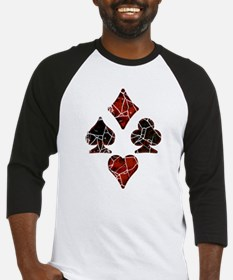 Cracked Playing Card Suits Baseball Jersey