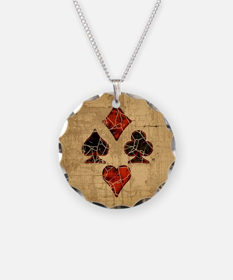 Cracked Playing Card Suits Necklace